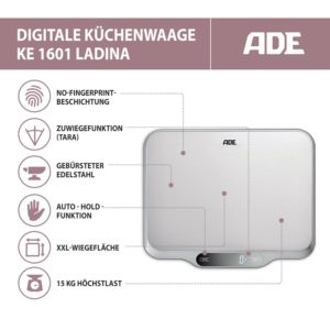 ADE Digitale Küchenwaage KE 1601 Ladina